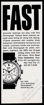 1961 Tag Heuer Recording Chronograph wrist watch illustrated vintage print ad
