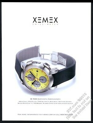 2006 Xemex XE 5000 chronograph watch color photo vintage print ad