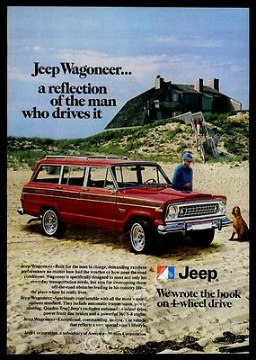 1978 Jeep Wagoneer red SUV beach photo vintage print ad