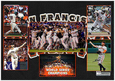 San Francisco Giants World Series Champs Signed Mlb Matted Baseball Photograph