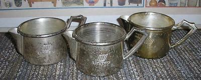 vintage....Lot of 3...United Airlines Creamers....Grand Silver Co...Wearbrite...