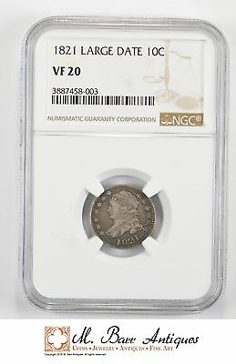 VF20 1821 Capped Bust Dime - Large Date - Graded NGC *226