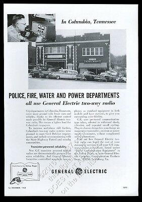 1958 Columbia Tennessee fire department city hall photo GE radio trade print ad