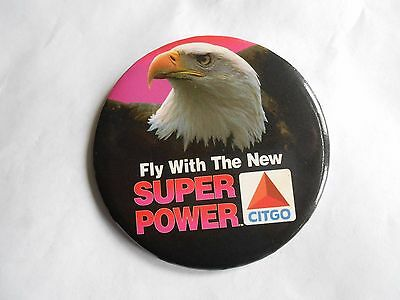 Vintage Citgo Super Power Gasoline Bald Eagle Advertising Pinback Button
