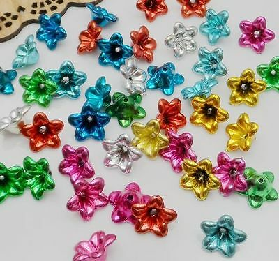 Free Shipping 50Pcs Mixed Plastic Morning Glory Flower Beads Caps 12x6mm