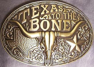 Pewter Belt Buckle The Old West Texas to the Bone NEW antique brass finish