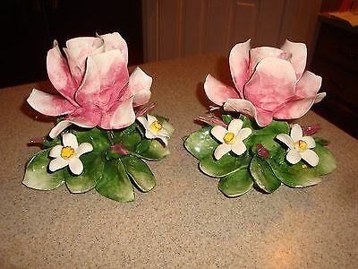 Vintage Capodimonte Pair Of Flowers Figurine Candle Holder Porcelain Italy