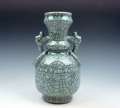 Chinese Crackle Porcelain Hand Crafted Unique Shaped Vase w/ 2 Handles #11271608