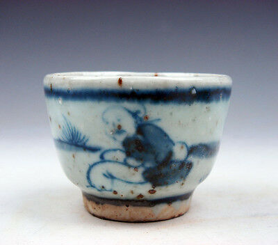 Antique Blue&White Glazed Porcelain Ancient Figurines Hand Painted Cup #10081606