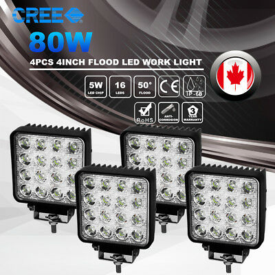"4pcs 4"" inch 80W CREE LED Work Light Pod Flood Beam Offroad Driving Lamps 24V12V"
