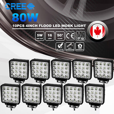 10X 4 inch 80W CREE LED Work Light Pod Flood Beam Truck Offroad Fog Driving Lamp