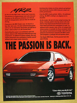 1991 Toyota MR2 Turbo red car color photo vintage print Ad