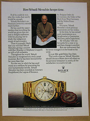 1980 Yehudi Menuhin photo Rolex Day-Date Watch vintage print Ad