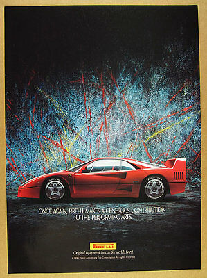 1990 Pirelli Tires red Ferrari F40 car photo vintage print Ad