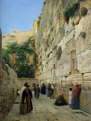 Oil Painting repro The Wailing Wall Jerusalem :: Gustav Bauernfeind