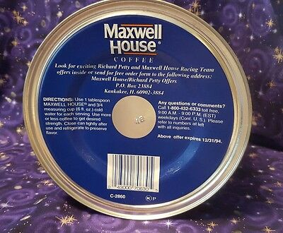 Maxwell House Coffee Can Richard Petty 1994 Still Unopened The King #43 Nascar
