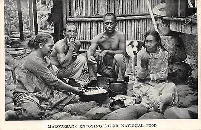 MARQUESAS ISLANDS, NATIVE MEN & WOMEN EATING THEIR NATIONAL FOOD, c 1904-14