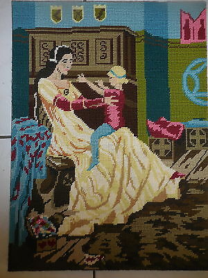 Tapestry Craft Picture Completed Made In Finland Et 718 Lady & Child