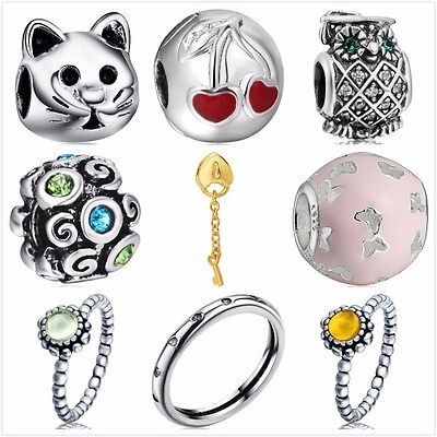 Wholesale 925 Silver Charms Beads Rings Fit European Snake Chain Bracelet CA
