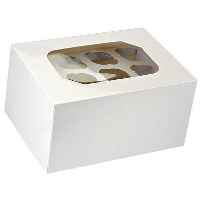 24 Hole White Fairy Cupcake Muffin Box with Clear Display Window