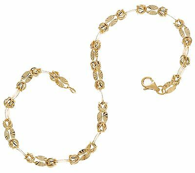 Diamond Cut Stationed Byzantine Bracelet Real 14K Yellow Gold Lobster Clasp QVC