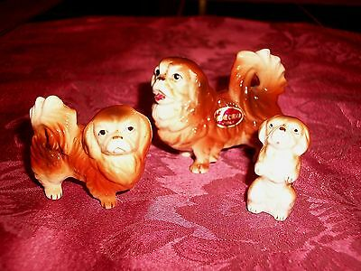 Vintage Family of 3 Japan Bone China Porcelain Miniature Pekingese Dog Figurines