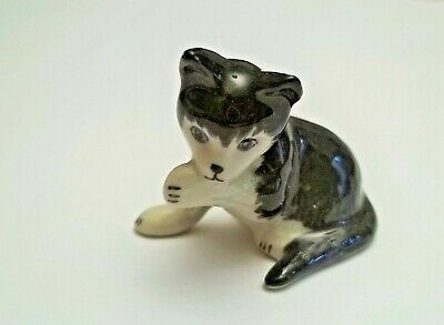 chat miniature en porcelaine,collection,animal,, cat, kat, poes, noir tp15-06