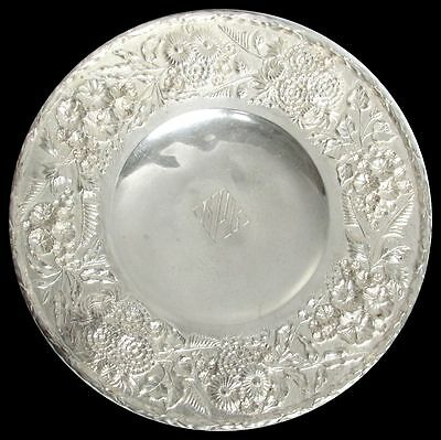 S Kirk & Son Sterling Silver Repousse' 3D High Relief Low Footed Cake Dish #193