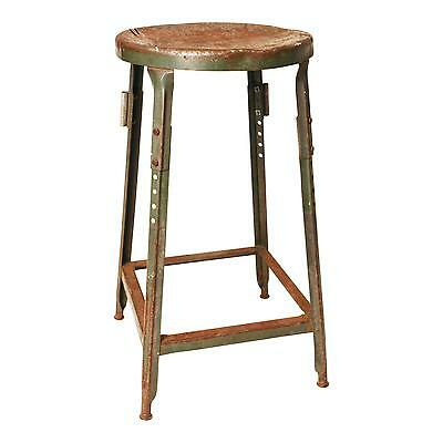 Vintage INDUSTRIAL STOOL steel metal chair green steampunk factory shop military