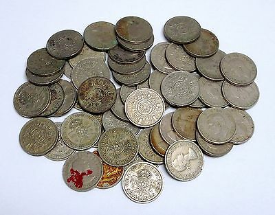 Circulated Lot of 50 British Two Shilling Coins (Some Damaged)