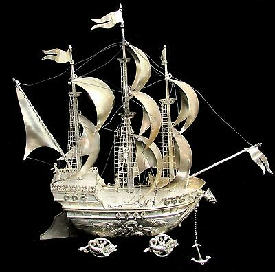 Massive Silver Nef Masted Ornate Ship Renaissance Style Centerpiece