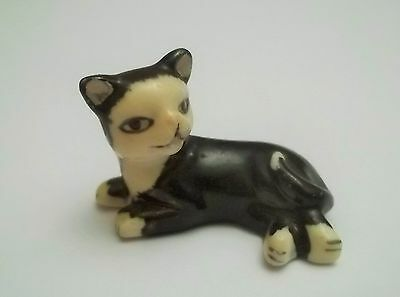 chat miniature en porcelaine,collection,animal,, cat, kat, poes,noir   tp15-12