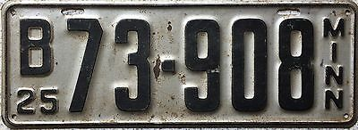 GENUINE  American 1925 Minnesota USA License Number Plate 73-908