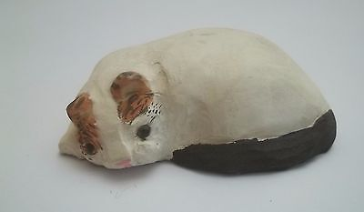 chat figurine en bois ,collection,animal,, cat, kat, poes, blanc  tp15-14