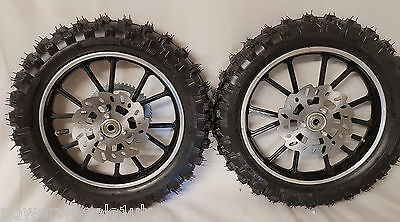 49Cc Mini Dirt Bike Front / Rear Complete Wheels, Tyres, Disc And Sprocket Sets