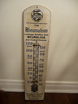 Antique Wood Advertising Sign Medicine Remedy Thermometer 5 Drops Rheumatism
