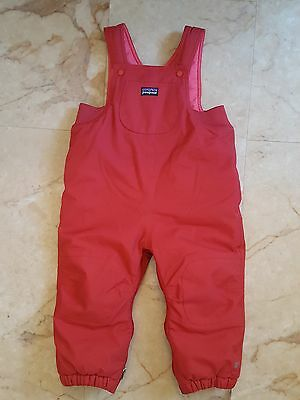 Baby boy girl PATAGONIA red snow pants with bib size 24 mos