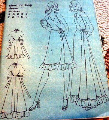 LOVELY VTG 1970s WRAP HALTER DRESS Sewing Pattern SMALL FF