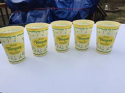 5 Old Vintage 60's-70's DRINK VERNORS soda waxed paper cup  7oz (NOS)