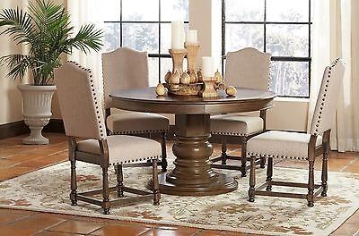 Fabulous Antique French Style 5 Pc Round Dining Table Set Nailhead Trim Chairs