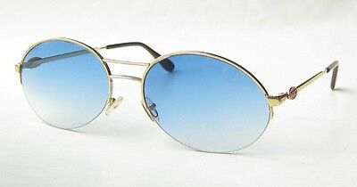 EXC VINTAGE 80s BUGATTI GOLD BLUE OVAL LARGE SUNGLASSES FRANCE w LEATHER CASE