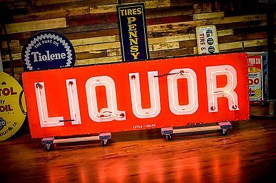 Original Porcelain Neon Sign LIQUOR Flashing AMAZING Mechanical Resto Will SHIP