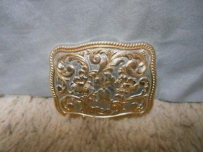 Chambers Phoenix 24K gold plate gold & silver floral belt buckle