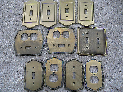 Vintage  Light Switch/outlet Covers Plates Brass Lot 11