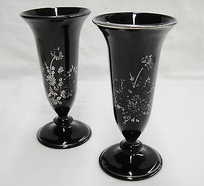 Black Opaque Glass Matching Vases Silver Edge and Floral Design Set of 2