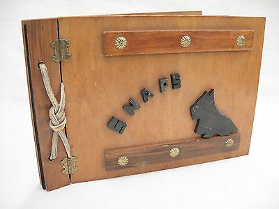Vintage Wooden Photo Album Snaps with Scottie Dog Hinged Cover 19 Black Pages