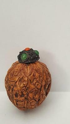 Chinese Oriental Carved Walnut 1000 Faces Snuff Bottle