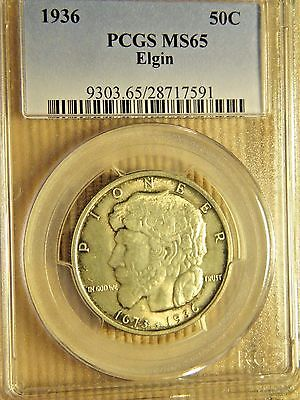 1936 ELGIN ILLINOIS PIONEER 50c PCGS MS65 GEM ORIGINAL COIN