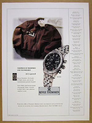 1996 Revue Thommen Airspeed Chronograph Watch photo vintage print Ad