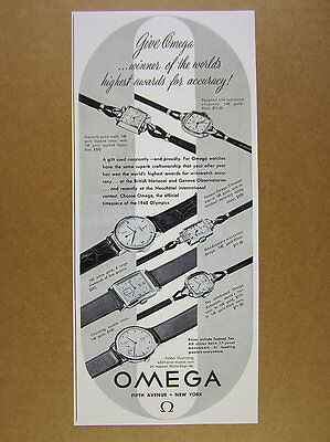 1948 Omega Watches 7 Watch Models specs prices vintage print Ad
